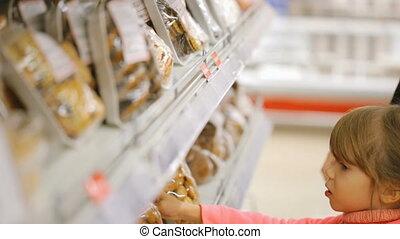 nourriture, épicerie, femme, magasin, choisir
