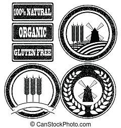 nourriture, étiquettes, collection, tampons, grain, céréale, produits, entier