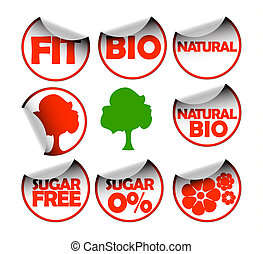 nourriture, étiquettes, ensemble, organique