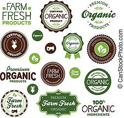 nourriture, étiquettes, organique