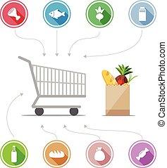 nourriture, achat, icônes