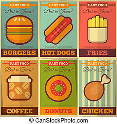 nourriture, affiches, retro, jeûne, collection