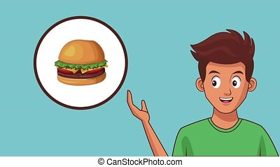 nourriture, animation, hd, jeûne, homme