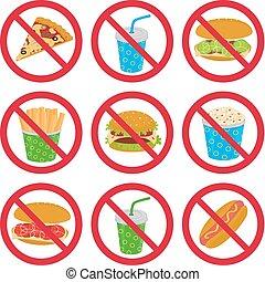 nourriture, anti-fast, signes