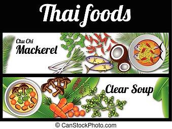nourriture, bannière, thaï, massaman, phad