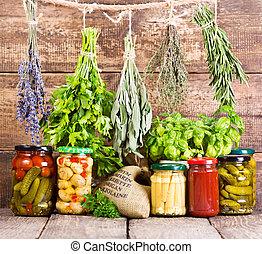 nourriture, boîte, frais, divers, herbes