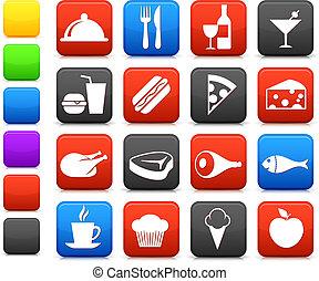 nourriture, boisson, collection, icône