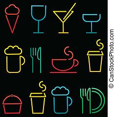 nourriture, boisson, ensemble, coloré
