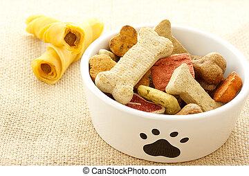 nourriture, bol, chien