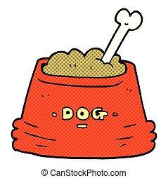 nourriture, bol, dessin animé, chien