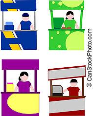 nourriture, box, kiosque, charrette