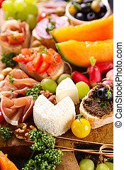 nourriture, buffet, antipasto-, encas, santé