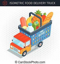 nourriture, camion livraison