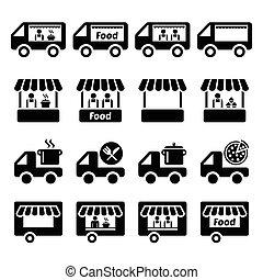 nourriture, camion, stand, icônes