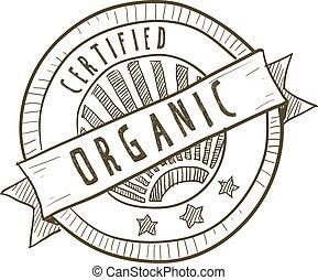 nourriture, certifié, organique, étiquette