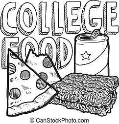 nourriture, collège, croquis