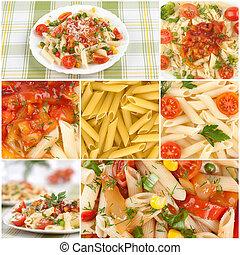 nourriture, collage, italien, pâtes.