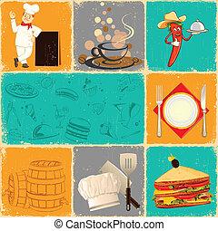 nourriture, collage, retro
