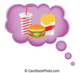 nourriture, concept, rêve, nuage