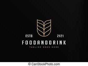 nourriture, conception, monoline, gabarit, icône, sain, vecteur, design., company., illustration, logo, ligne, simple, plante, blé, vendange