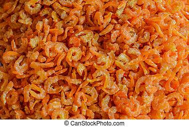 nourriture, crevette, material., sec, cru