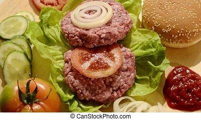 nourriture crue, jeûne, hamburgers