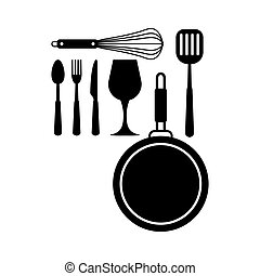 nourriture, cuisine, couteau, friture, vecteur, vin, isolé, travail, fourchette, icône, ensemble, noir, verre., outils, chef cuistot, fouet, illustration, moule, spatule, cuillère