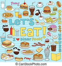 nourriture, dîneur, ensemble, doodles, cahier