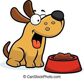 nourriture, dessin animé, chien