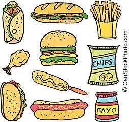 nourriture, doodles, ensemble, divers