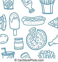 nourriture, doodles, ensemble, divers, collection