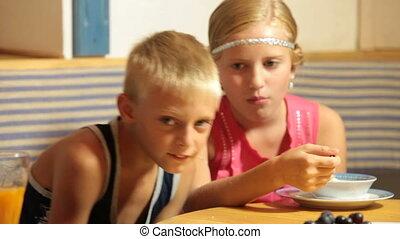 nourriture, enfants, jeûne, restaurant
