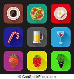nourriture, ensemble, boissons, icônes