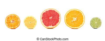 nourriture, ensemble, citrus, juteux, isolé, fruits, arrière-plan., blanc