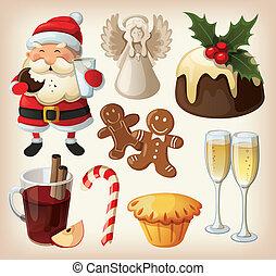 nourriture, ensemble, décorations, fête