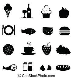 nourriture, ensemble, icône