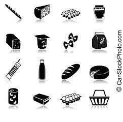 nourriture, ensemble, icônes