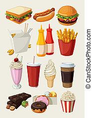nourriture, ensemble, jeûne, coloré, dessin animé