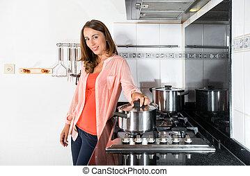 nourriture, femme, conjugal, cuisine, cuisine
