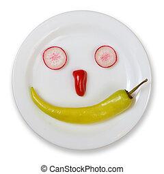nourriture, frais, blanc, smiley, isolé