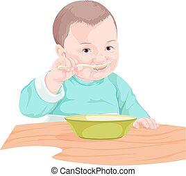 nourriture, garçon, vecteur, manger, spoon.