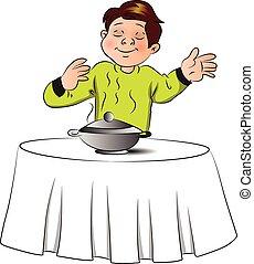 nourriture, garçon, vecteur, table., sentir