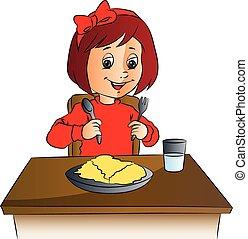 nourriture, girl, vecteur, table.