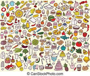 nourriture, grand, collection, cuisine