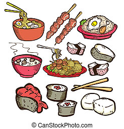 nourriture, griffonnage, ensemble, asiatique