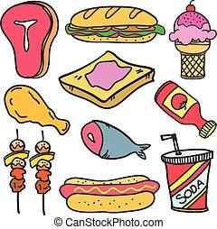 nourriture, griffonnage, ensemble, divers, boisson