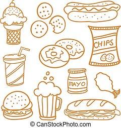 nourriture, griffonnage, ensemble, divers
