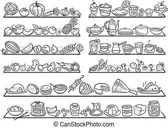 nourriture, griffonnage, icônes