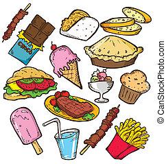 nourriture, griffonnage, jonque