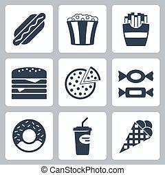 nourriture, jonque, vecteur, ensemble, icônes